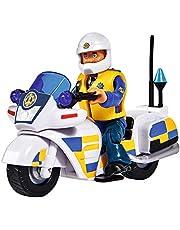 Simba 109251092 Brandweerman Sam Politie Motorfiets met Malcolm figuur, met accessoires, Staffel 12, vanaf 3 jaar