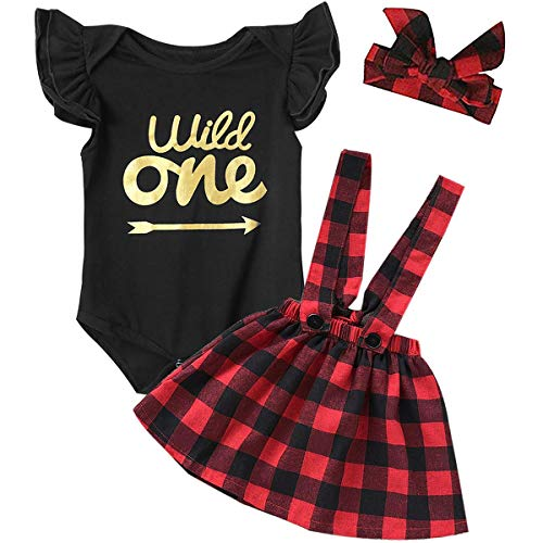 - Gollemory Baby Girls Wild One Ruffles Bodysuit Plaid Skirt Outfits with Headband (Red,18-24 Months)
