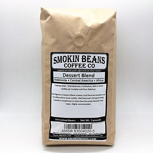 5 LBS - SIGNATURE DESSERT BLEND IN A BURLAP BAG - Beans From: Indonesia + Central America + Africa, Complex, Delicious, Specialty-Grade Green Unroasted Whole Coffee Beans, for Home Coffee Roasters
