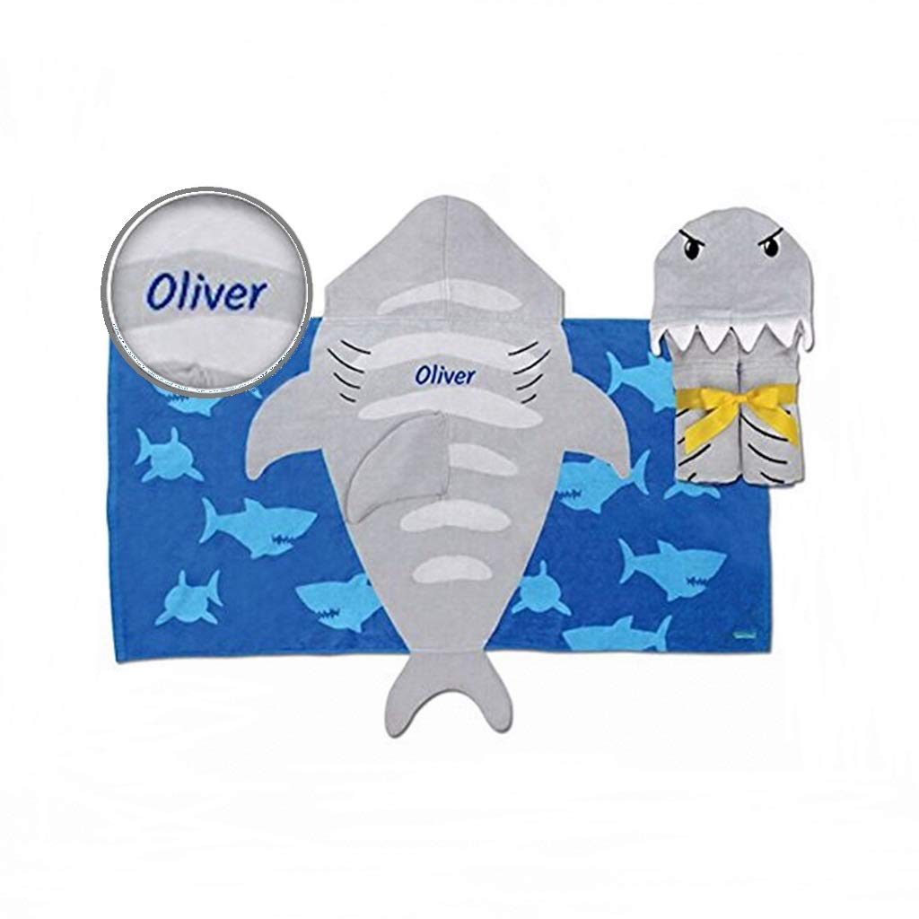 Personalized Hooded Beach & Bath Towel (Shark) by Dibsies Personalization Station