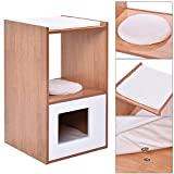 Double Deck Cat Box Cushion Cleaning Enclosure Hidden Pet Bed Furniture Wood New