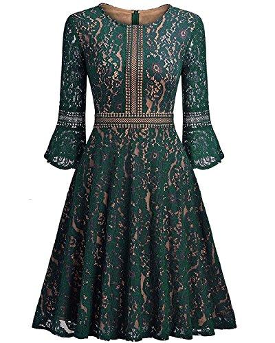 autocultivo elegante nuevo de y de Green encaje invierno encaje de las y de hoja niñas de mujeres el las loto Otoño vestido de RvWz6q1Ww