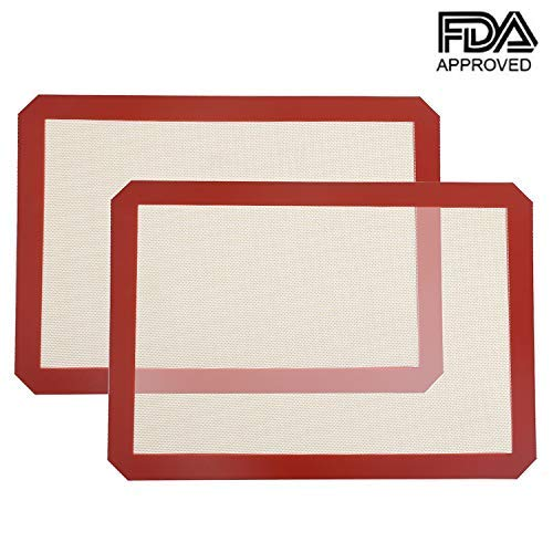 Professional Silicone Baking Mats Sheets - Yneedi 2 x Half Sheet Reusable, Non-Toxic, BPA Free Bakeware for 18x13 Bake Pans & Rolling - Macaron/Pastry/Cookie/Bun/Bread