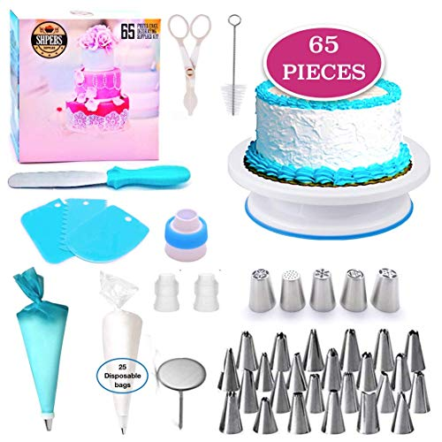 Cake Decorating Supplies Kit-65 PCS Baking Supply Set | Rotating Turntable stand | 24 Icing Piping Tips & Icing Bags | Frosting & Pastry Tools, Piping Tip Pattern Chart Included