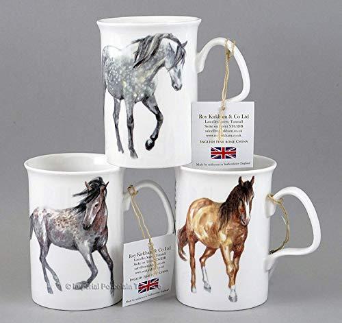 Roy Kirkham MY HORSES Mug Assortment of 3- Fine English Bone -