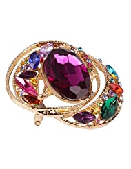 Red Faux Gemstone Beads Crystal Women Jewelry Fashion Party Pins Brooch Broche