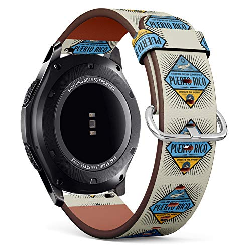 Stamp or Vintage Emblem with Airplane, Compass and Text Puerto Rico - Patterned Leather Wristband Strap Compatible with Samsung Gear S3 Frontier