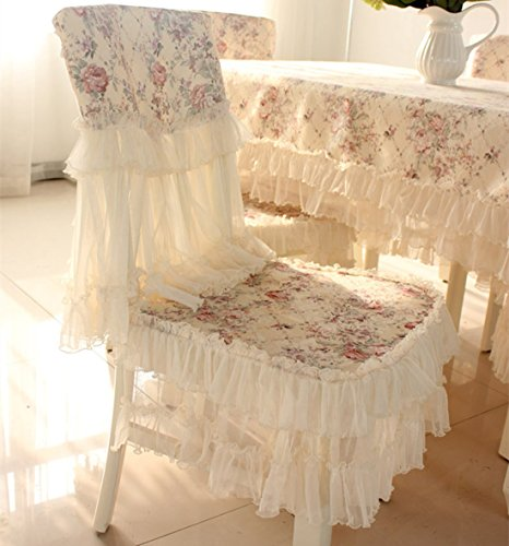 JH tablecloths Country Style lace Coffee Grace Floral Design Chair Back Cover and Chair Cushion Cover (Covers Chair Chic)