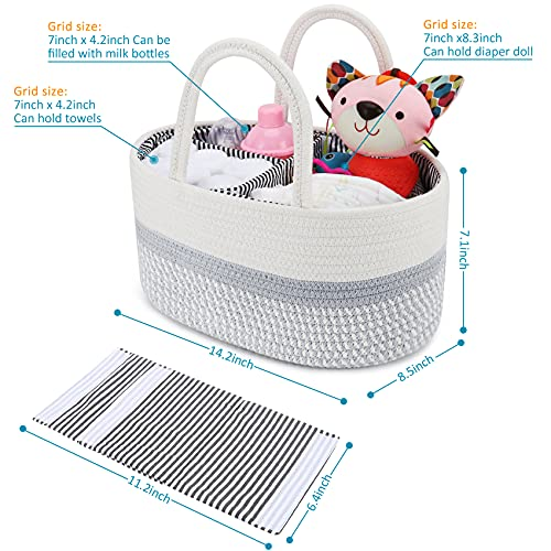 ABenkle Diaper Caddy Organizer, 100% Cotton Rope Baby Basket Nursery Storage Bin, Portable Baby Gift Bag Organizer for Changing Table/Car, Baby Registry Gift for Baby Shower