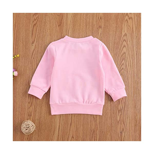Felpa T-Shirt Bambino Bambina Unisex Maglia in Cotone Girocollo a Maniche Lunghe con Stampa di Lettere Casual Carino 0-3… 3