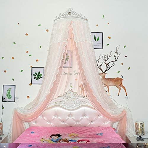 レースベッドキャノピー,皇太子妃 ダブル カラー ベッド カーテン 装飾的なドレープメタルクラウンと寝室のためのライトと裁判所の蚊帳-p