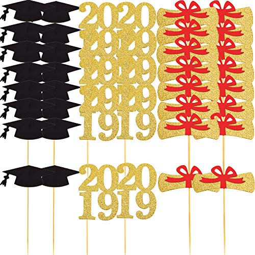 TOODOO 72 Pieces Graduation Cupcake Toppers 2019 Graduation Party Decorations Cake Topper Picks, 3 Designs]()