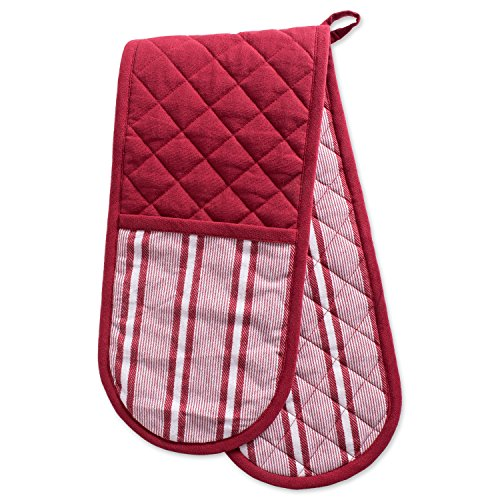 DII Cotton Stripe Quilted Double Oven Mitt, 35 x 7.5, Machine Washable and Heat Resistant Kitchen Moppine for Everyday Cooking and Baking-Barn Red