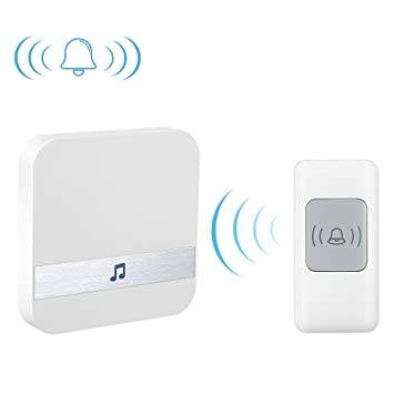 SMART4U Wireless Doorbell With Battery Remote Button Transmitter And 1 Plug  In Receiver, Operating Range