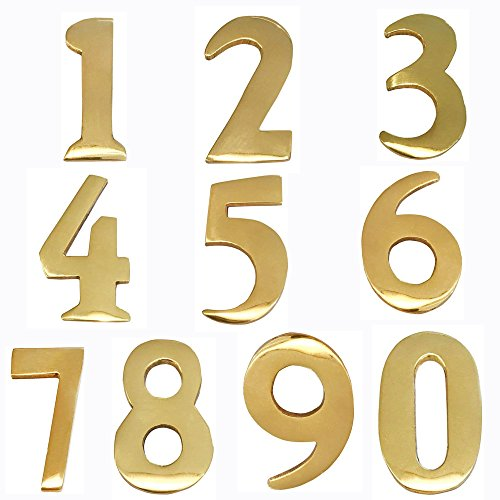 Addresses of Distinction 4 Customized 2-Inch Brass Mailbox Numbers - Pick Your Numbers - Self Adhesive - Williamsburg Font - Won't Tarnish - Numbering for Address Plaque (4, 2-Inch Numbers)