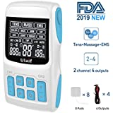 TENS Unit+EMS Muscle Stimulator+ Pulse Massager 3-in-1 Combination, Ulaif 2018 New Designed, 36 Modes for Pain Relief & Muscle Strength, 2-4 Channels Output,8 Long Life Pads