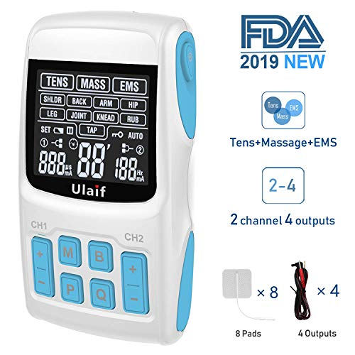 TENS Unit+EMS Muscle Stimulator+ Pulse Massager 3-in-1 Combination, Ulaif New Designed, 36 Modes for Pain Relief & Muscle Strength, 2-4 Channels Output,8 Long Life Pads, FDA Approved
