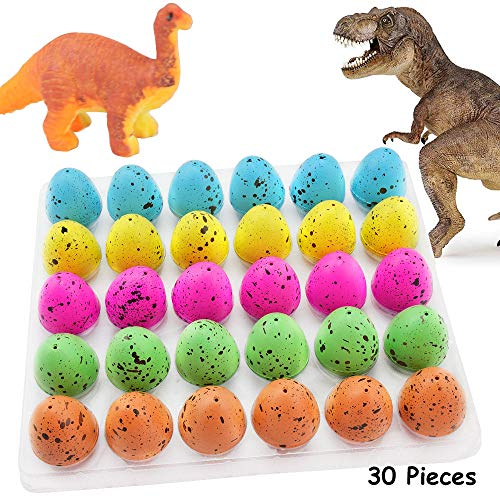Blu7ive Hatch and Grow Easter Dinosaur Eggs - Novelty Hatching Toy with Mini Toy Dinosaur Figures Inside for Kids, 30 Pack, 1.7X 1.3inch]()