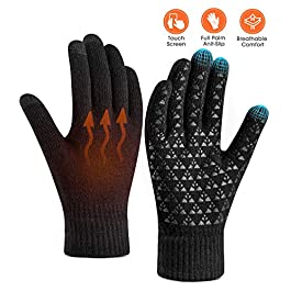 Winter Gloves for Women Men Touch Screen Warm Knit Gloves – Anti-Slip Silicone Gel, Thermal So