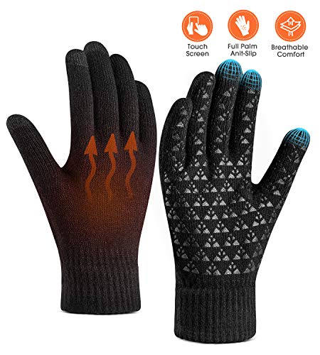 Winter Warm Touchscreen Gloves for Women Men - Triangle Anti-Slip Silicone Gel, Knit Thermal Soft Lining & Elastic Cuff, Driving Motorcycle Cycling Bike Sports Texting Gloves(One-Size, Black)