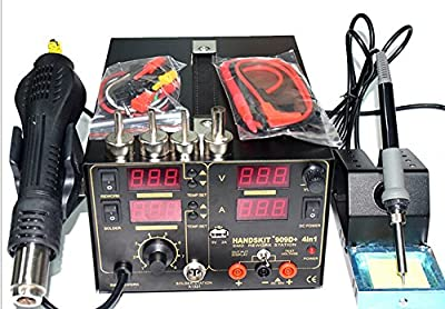 4in1 800W Mobile computer welding SMD Repir Rework Soldering Station Hot Air Gun DC USB Power Supply 110V AC US Plug