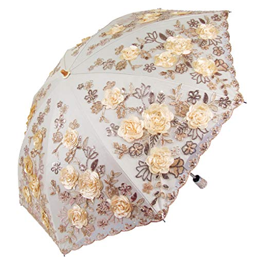 (Honeystore 3D Flower Lace Embroidery Parasol Vintage Wedding Decorative Umbrella LX8222 Yellow)