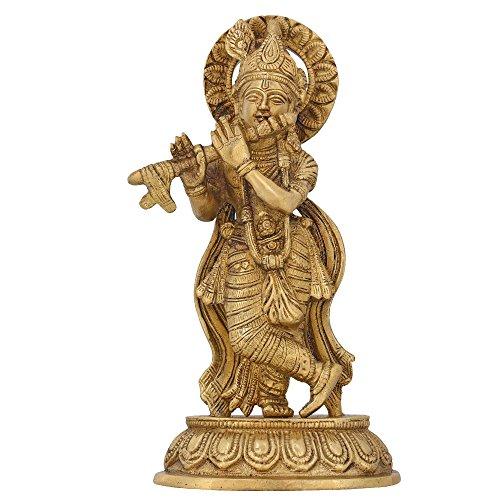 Brass Statue Krishna Figurine Hindu Idol for Puja Mandir Temple 8.25 - Metal For Home Temple