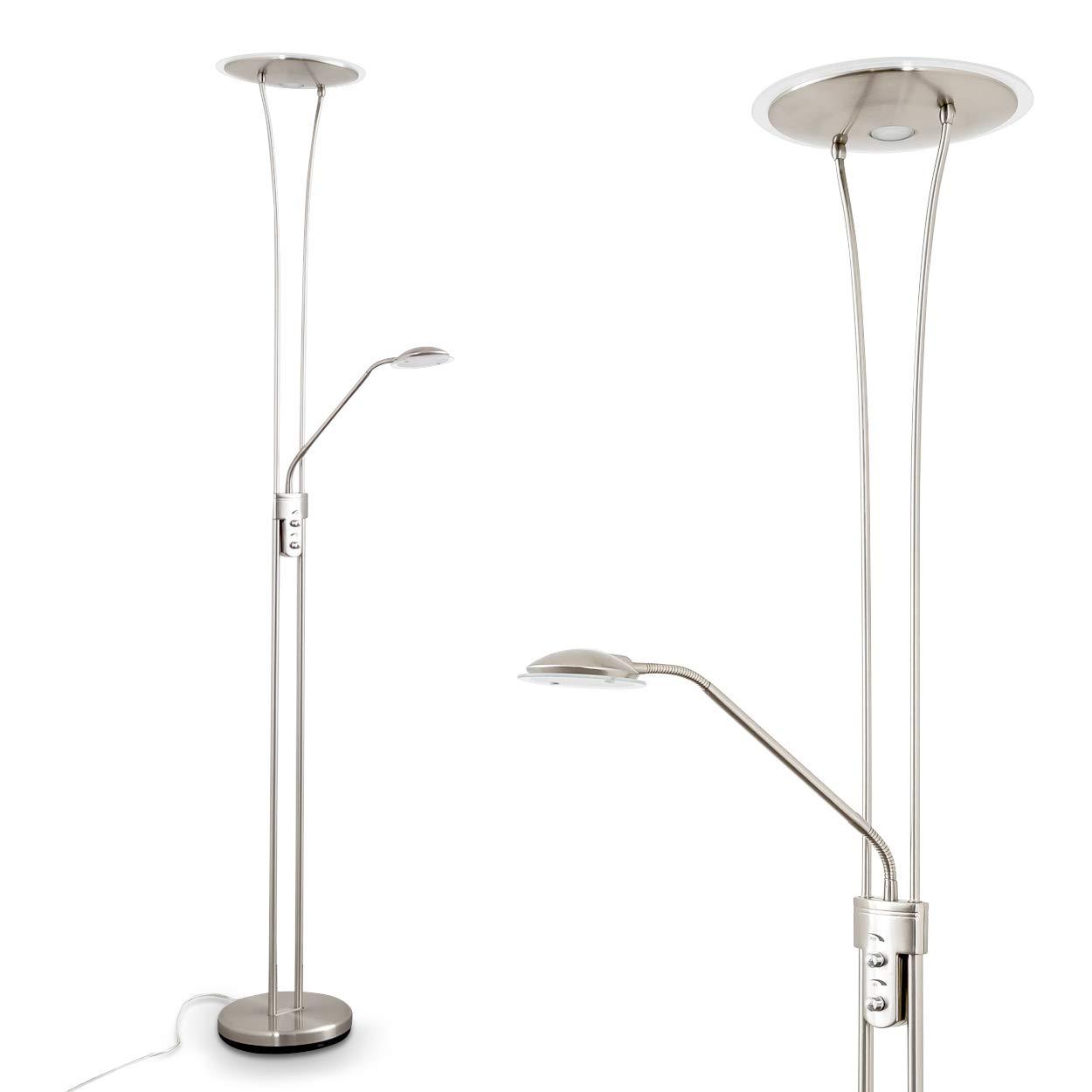 LED Deckenfluter mit Leselampe Marana Nickel – dimmbar mit Drehdimmer - 1620 Lumen | 450 Lumen – 3000 Kelvin - Lampenschirme Glas – LED-Lampen – Wohnzimmer – Lampe Flur – Stehlampe – 176,5 cm Höhe