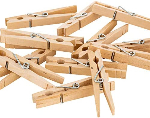 Woolite Extra Large Wooden 100 Pack Clothespins Natural