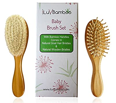 Baby Hair Brush - 2 Pack Set with Bamboo Handles. Natural Goat Hair Bristles for Newborns to Help with Cradle Cap. Wooden Bristles for Toddler Best as Detangling Brush. Top Baby Gifts by iLuvBamboo