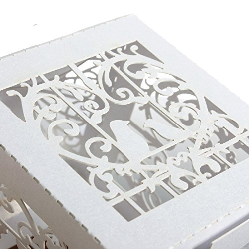 DGQ 50PCS Heart Candy Boxes with Ribbon Wedding Party Lanterns Holder For LED Tealight Candle