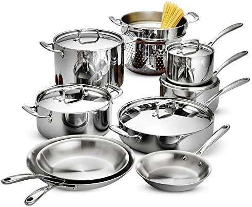 Tramontina 80116 568DS Stainless Steel Tri-Ply Clad Cookware Set, 14-Piece, Made in China