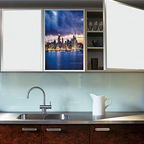 ALUONI Frosted Window Film Stained Glass Window Film,City,Work Well in The Bathroom,Auckland The Biggest City in New Zealand Waterfront,24''x36''