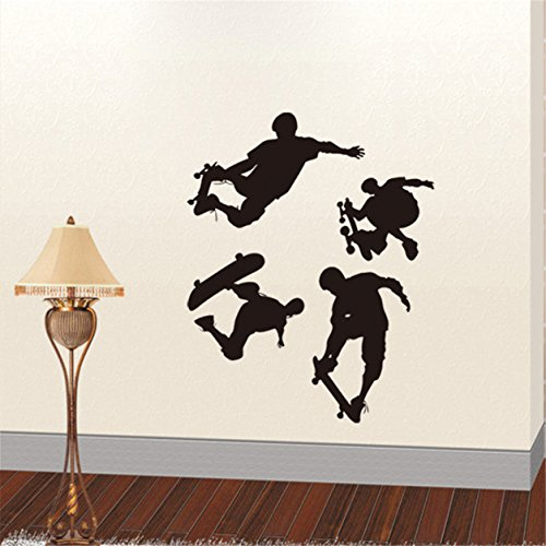 Lanue Sports Playing Skateboards Removable Vinyl Wall Stickers Art Decor Mural Decal for kids Teen Room Decoration Skateboard Wall Murals