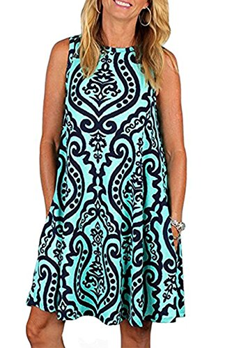 ANDUUNI Womens Summer Sleeveles Casual Swing Tunic Tops Loose Pockets Tank Dress Blouses For Beach