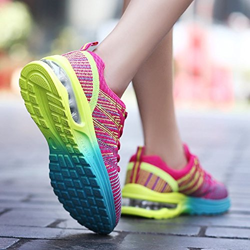 Homme Femme Chaussures de Running Sport Basket Respirante Travail Trail Sneakers Noir Rose Gris 35-46 5
