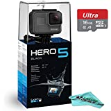 GoPro HERO5 4K video Action Waterproof Camera, WiFi & Bluetooth Enabled w/ Touch Display & Voice Control (Black) + 16GB High-Speed Micro-SD Memory Card + Liquid Deals Lens Cleaning Microfiber Cloth