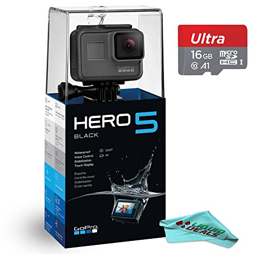GoPro HERO5 4K video Action Waterproof Camera, WiFi & Bluetooth Enabled w/ Touch Display & Voice Control (Black) + 16GB High-Speed Micro-SD Memory Card + Liquid Deals Lens Cleaning Microfiber Cloth For Sale