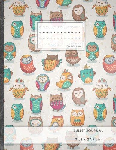 "Bullet Journal • A4-Format, 100+ Seiten, Soft Cover, Register, ""Lustige Eulen"" • Original #GoodMemos Dot Grid Notebook • Perfekt als Tagebuch, Zeichenbuch, Kalligraphie Buch"