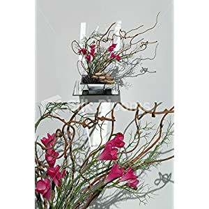 Artificial Fuchsia Freesia Ikebana Japanese Floral Arrangement