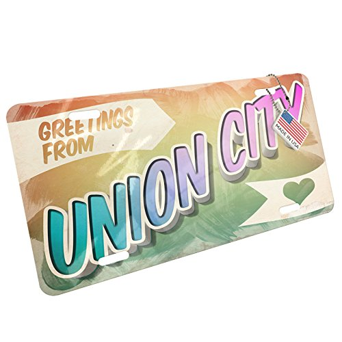 Metal License Plate Greetings from Union City, Vintage Postcard - Neonblond (Union Vintage Postcard)