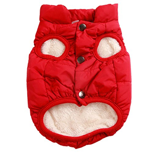 - JoyDaog 2 Layers Fleece Lined Warm Dog Jacket for Puppy Winter Cold Weather,Soft Windproof Small Dog Coat, Red XS
