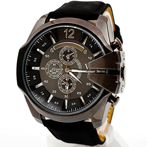 Big promotion ! Teresamoon watch Black Friday Christmas Thanksgiving Cheapest Luxury Men Watch (Black+Black)