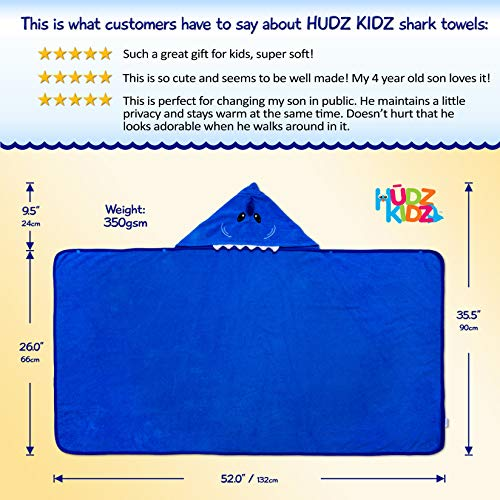 Hudz Kidz Softest Quick Dry Hooded Kids Shark Towel for Toddler - 5T - 100% Cotton Gently Snuggles Kids Dry. Get The Moms Love by Hudz Kidz (Image #3)