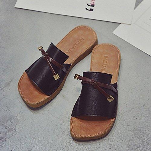 Tongs Femmes Casual Mode Plage Plates Nœud Mules JITIAN Noir Toe Lanières Été Chaussures Peep Sandales qFpWOIw