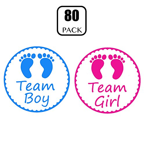 Gender Reveal Stickers - PojoTech Team Boy and Team Girl Baby Shower Stickers Gender Reveal Party Supplies Decorations - 80 -