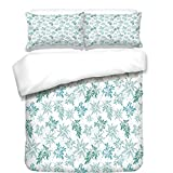 iPrint Duvet Cover Set,Teal,Tropics Abstract Leaves Aloha Hawaii Foliage Vegetation Exotic Trees Decorative,Pale Blue Reseda Green White,Best Bedding Gifts for Family Or Friends