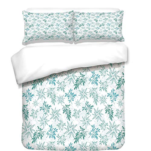 iPrint Duvet Cover Set,Teal,Tropics Abstract Leaves Aloha Hawaii Foliage Vegetation Exotic Trees Decorative,Pale Blue Reseda Green White,Best Bedding Gifts for Family Or Friends by iPrint