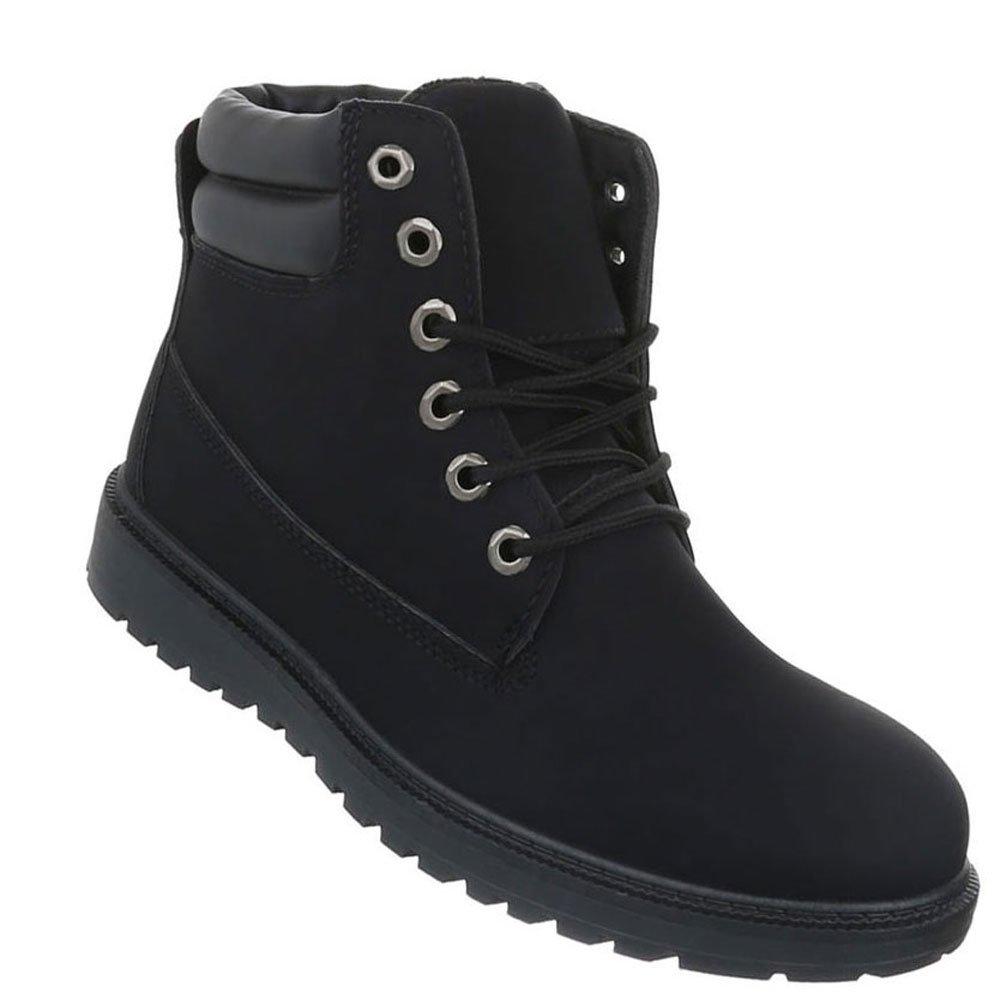 Herren Schuhe Boots Schnürer Stiefeletten Schwarz
