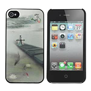 3D Effect Ancient Chinese Classical Painting Pattern Case For iPhone 4.